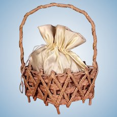 Antique Wicker & Silk Sewing Basket on Footed Base for your French fashion Dolls