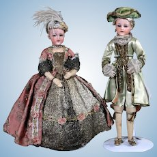 """Pair of Heubach 5689 """"Smiling Child"""" in Original Court Costumes, 12 inches"""