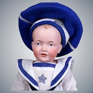 Kley & Hahn 531  Character Boy in White Navy Suit, 17.5 inches