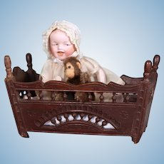 French Breton Small Doll Rocking Cradle, 9 inches