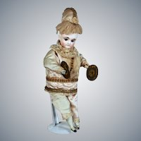 German bisque Clown with Clapping Cymbals, Original clothing, 15 inches