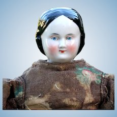 German Covered Wagon China Doll in Antique Dress, 11 inches