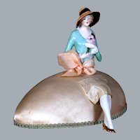 1930's Art Deco Half Doll on Silk Easter Egg,  6 inches
