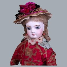 Jumeau  French fashion Doll with Wrap Around Eyes, Great Costume, 17 inches