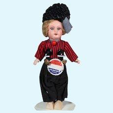 Papier Mache Dollhouse Doll in Original Dutch Costume, 8 inches
