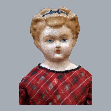 Rare Wiegand's Papier Mache Doll with Alice Headband, 1876, 27 inches