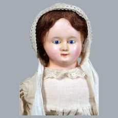 German Wax over Papier Mache Doll with Blue Glass Eyes, Original Wig, 27 inches