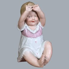 Heubach Bisque Figurine, Seated Little Girl, 6.5 inches