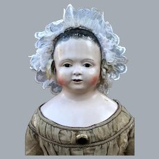 Large and Fabulous Voit Papier Mache Doll, 1840, 33 inches
