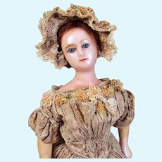 All Original Wax Lady with Turned Head, Smiling Gently, 11 inches
