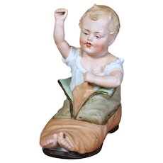 Heubach Bisque Figurine, Baby in Shoe, 6 inches