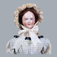 ALL-ORIGINAL Schlaggenwald Wigged China Doll, Deep Pink Tint, 22 inches