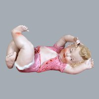 Heubach Bisque Figurine, Baby on Back,  7 inches
