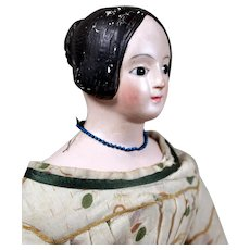 German Papier Mache Doll with RARE Gilded Tuck Comb, Original Clothing, 20 inches
