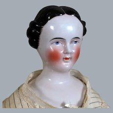 Early German China Head Doll with rare Coiffure,  21.5 inches