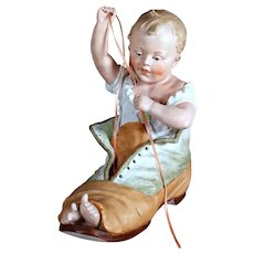 LARGEST Size ~ Heubach Bisque Figurine of Baby in Boot,  12 inches