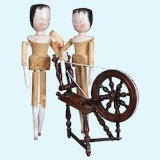 Antique Peg Wooden Sisters, 12 inches