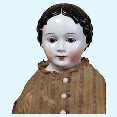 Glass Eyed China with Brown Eyes,  Greiner Hairstyle and Lovely Antique Costume, 20 inches