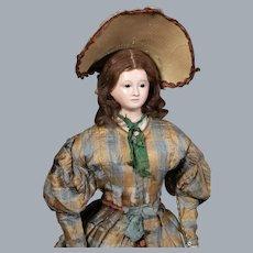1840's Voit Papier Mache Doll ALL-ORIGINAL, Museum Deaccession, 22 inches