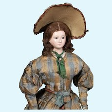 1840's Voit Papier Mache Doll ALL-ORIGINAL, Museum Deaccession, 22 inches