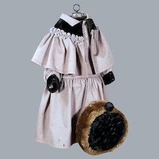 Authentic Antique Doll Wool Coat and Fur Tam