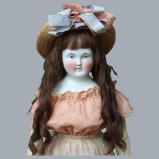 Large German Wigged China Girl Doll, 25 inches