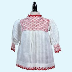 Antique Doll Blouse with Embroidery, 8 inches