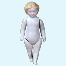 Molded Hair All Bisque Doll with Civil War Hairdo, 5 inches