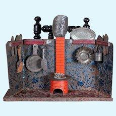 Antique Miniature Tin Kitchen, 9.5 inches