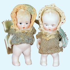All-Bisque Japanese Dolls  with Original Knit Outfits, Jointed Arms, 3""