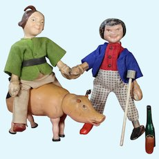"""Schoenhut """"Max and Moritz"""" with Pig, 8 inches"""