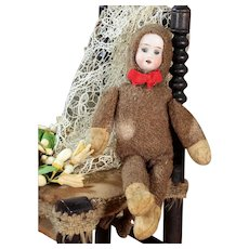 Antique Bear Doll with Bisque Head, Jointed Body, 9 inches