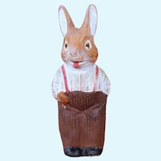 German Papier Mache Rabbit in Shirt and Suspenders, 5.4 inches