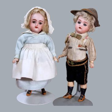 Pair of K*R Children in Traditional German Costumes 7 inches