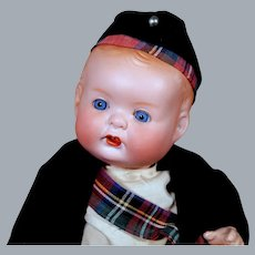 Hertel Shwab 125 Pudgy Character in Original Scottish Costume, 14 inches