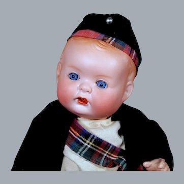 Hertel Shwab 125 Pudgy Character in Original Scottish Costume, 14 inches