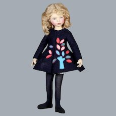 "Large 12"" Maggie Iacono Felt Doll, Maggie Made Doll"