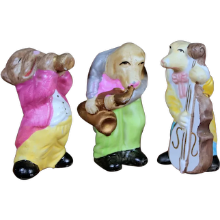 Bisque Musical Band Animal Figurines, 3.5 inches