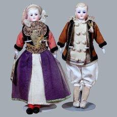All Original Pair Simon Halbig Molded Hair Dolls, 9 inches