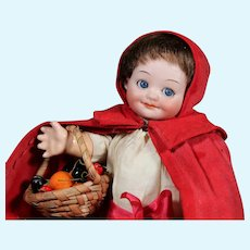 Armand Marseille 323 Googly as Red Riding Hood, 10/5 inches