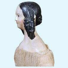 """All-Original Papier Mache """"Milliner's Model"""" with WONDERFUL early hair, 13 inches"""