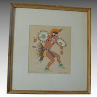 Vintage Harrison Begay Navajo Silk Screen, War Dance Artist Signed