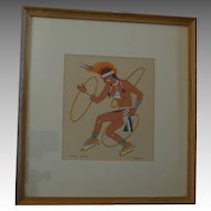 Vintage Harrison Begay Navajo Silk Screen, Hoop Dance,  Artist Signed