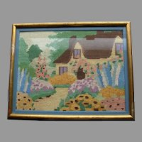 Vintage English Garden cross stitch embroidery thatched roof cottage hollyhocks flower garden