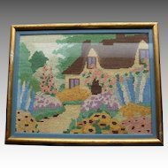 Vintage English Garden cross stitch embroidery thatched roof cottage hollyhocks flower garden