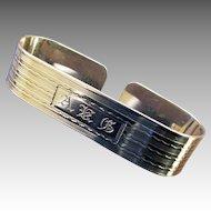 Art Deco Sterling Napkin Ring, monogram DFV
