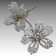 Vintage Rhinestone  Beaded Flowers Brooch Hair Ornament