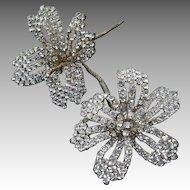 Vintage Rhinestone  Beaded Flowers Brooch Hair Ornament