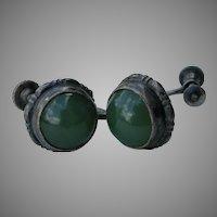 Vintage Jade & Sterling Earrings