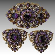 Vintage Gold Tone Filigree Brooch and Clips Guillotine Enamel and Amethyst colored stones